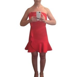 Sandro red strapless dress NWT